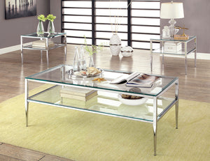 Tanika CM4162CRM-C Contemporary Chrome Finish Metal Coffee Table Set