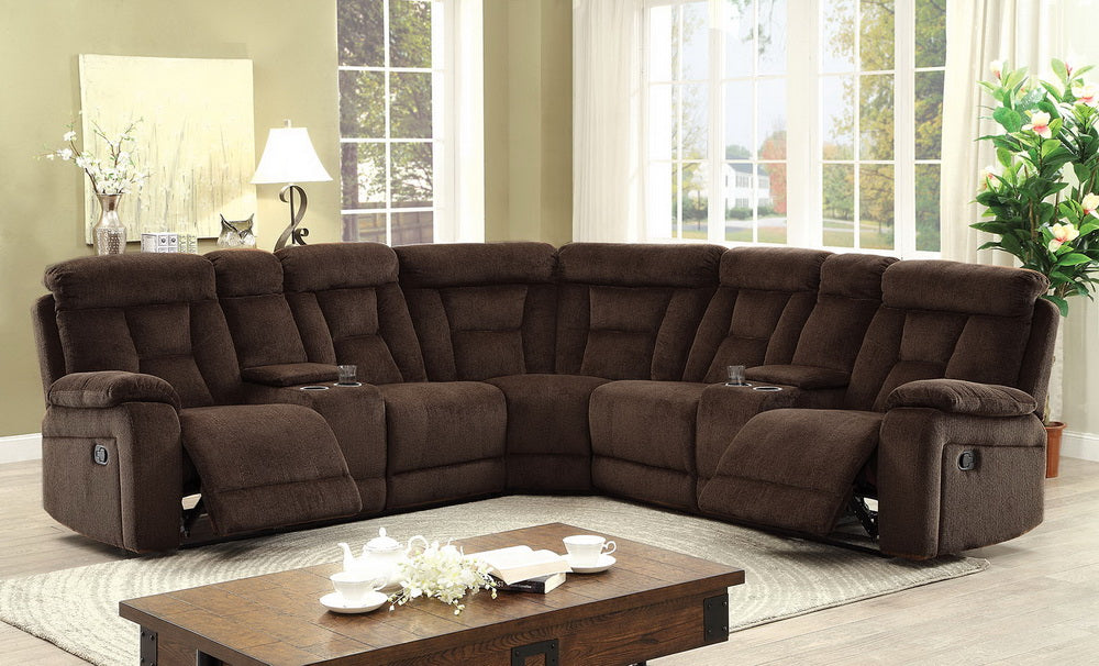 Furniture of America CM6773BR Maybell Brown Fabric Sectional Sofa