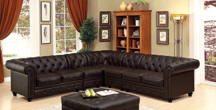 Furniture of America CM6270BR Stanford Brown Sectional Sofa Set