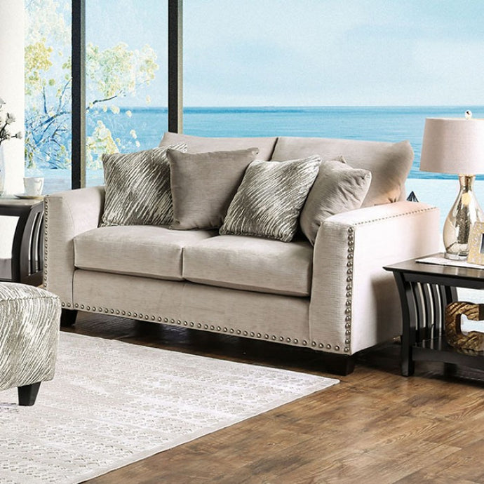 Furniture of America SM8220 Stefano Contemporary Light Mocha Loveseat