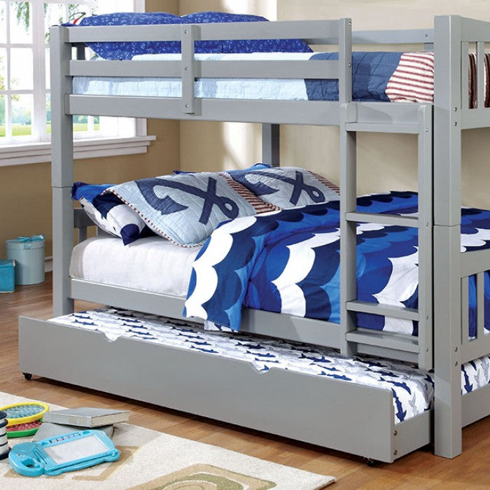Cameron CM-BK929F-GY CM-TR452-GY Gray Full over Full Trundle Bunk Bed