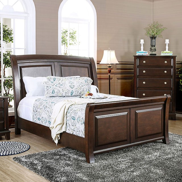 Litchville CM7383EK Contemporary Brown Cherry Eastern King Sleigh Bed