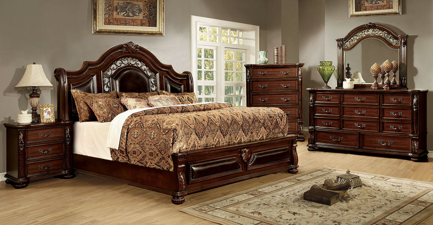 Flandreau CM7588Q Traditional Brown Cherry Finish Queen Bedroom Set