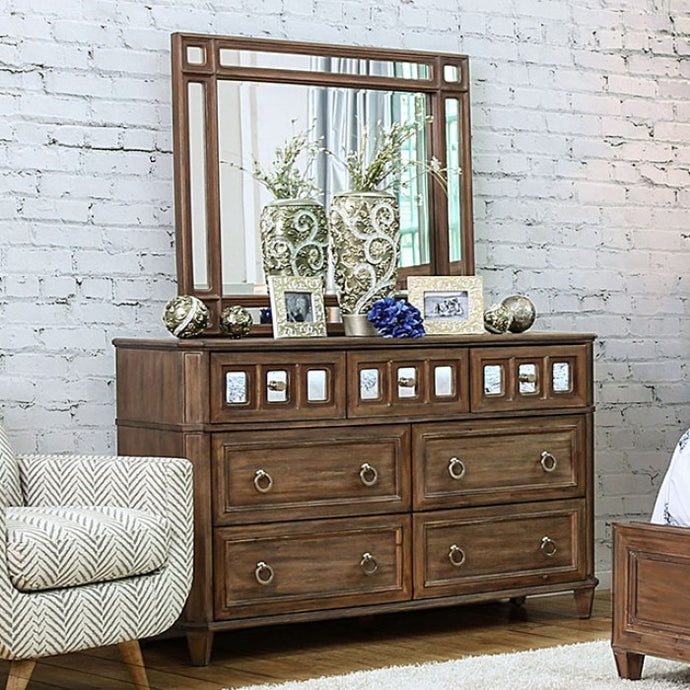 Frontera CM7586D CM7586M Transitional Rustic Oak Dresser Mirror Set