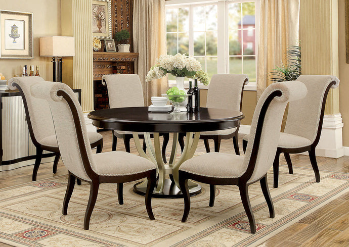 Furniture of America Ornette 7Pcs Contemporary Espresso Silver Round Dining Set
