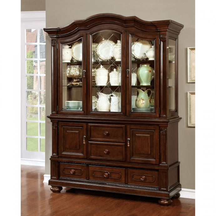 Furniture of America Alpena Traditional Brown Cherry Hutch Buffet