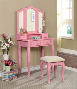 Furniture of America CM-DK6846PK Janelle Transitional Pink Vanity Set
