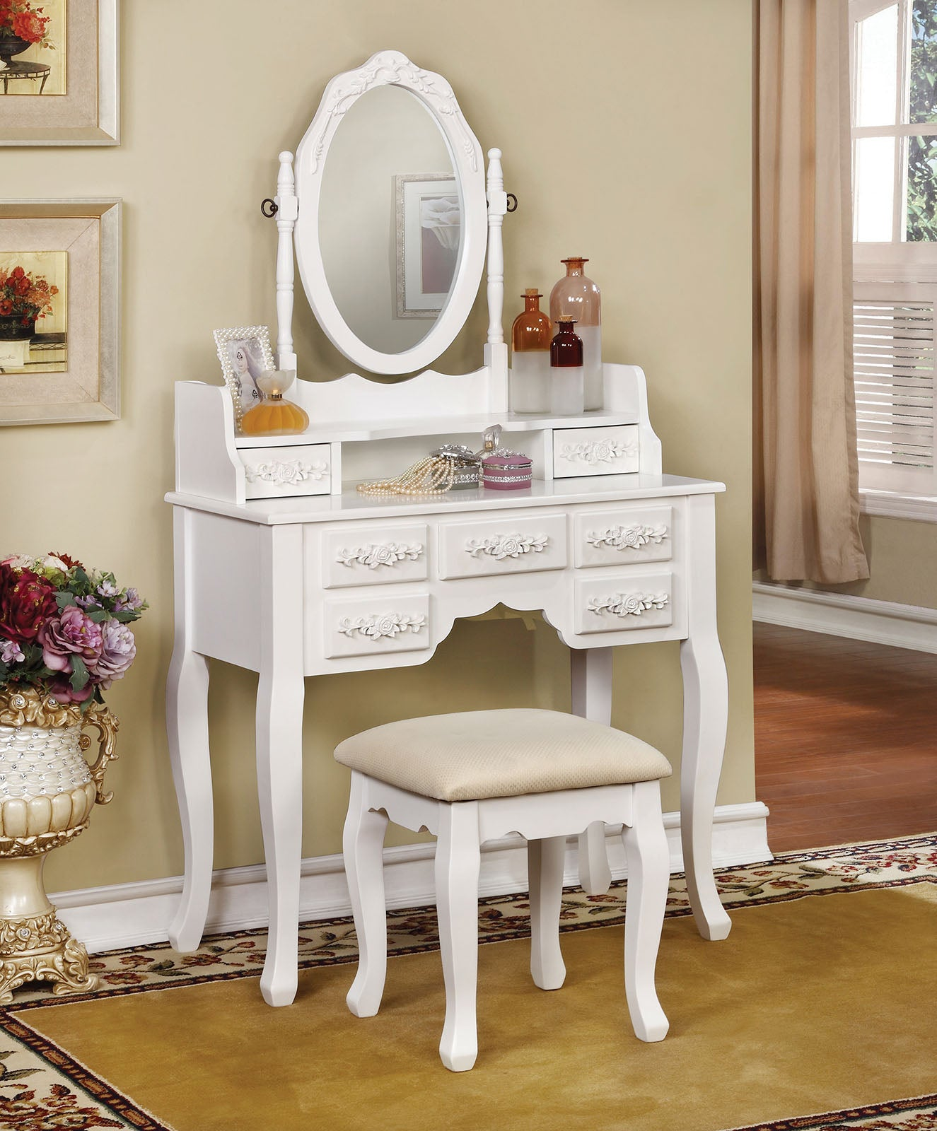 Furniture of America CM-DK6845WH Harriet Transitional White Vanity Set