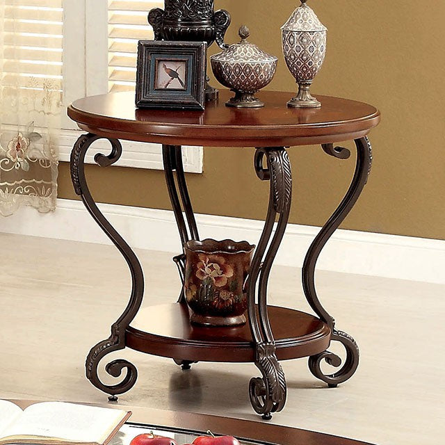 May Living Room Brown Cherry End Table CM4326E Furniture Of America