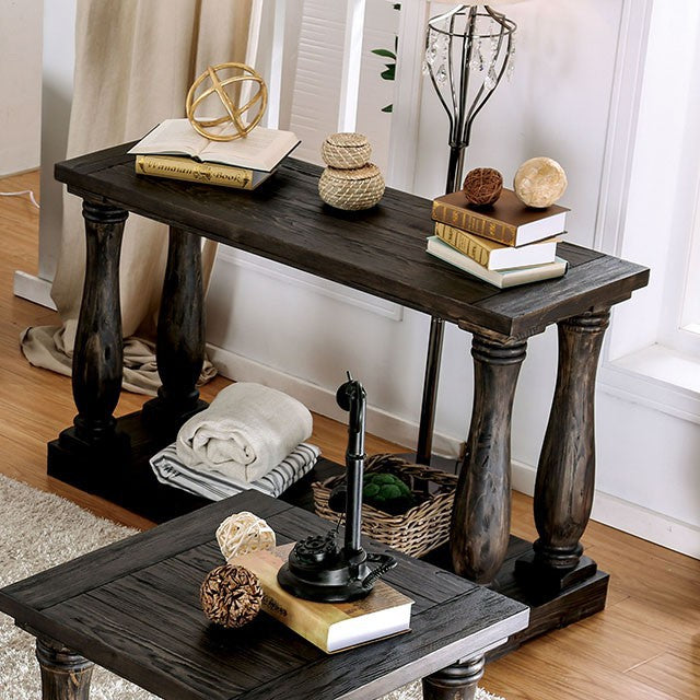 Keira CM4455S Living Room Weathered Walnut Finish Sofa Table