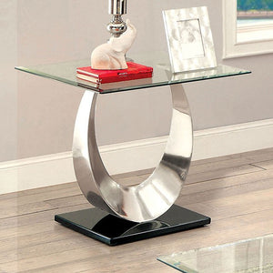 Orla CM4726E II Living Room Silver And Black Finish End Table