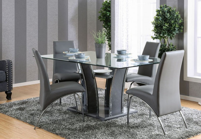 Glenview I CM8372GY-T Contemporary Glass Top Gray Dining Table