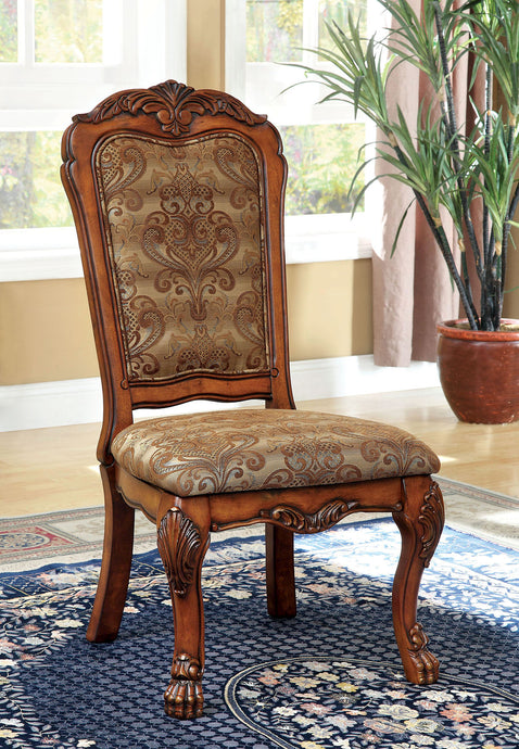 Furniture of America Medieve Traditional Antique Oak Side Chair Set of 2