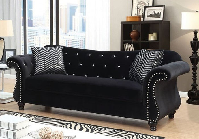 Jolanda Black Flannelette Glam Sofa CM6159BK-SF Furniture Of America