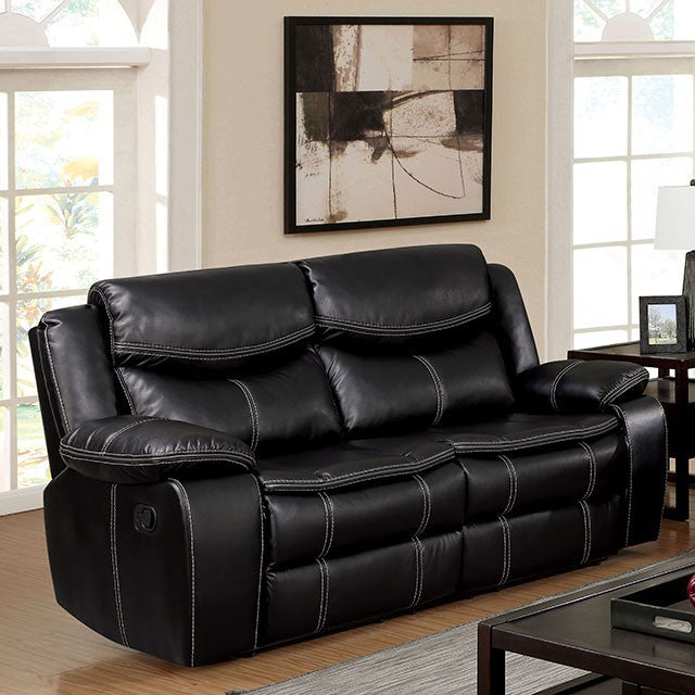 Furniture of America CM6981-LV Pollux Black Recliner Loveseat