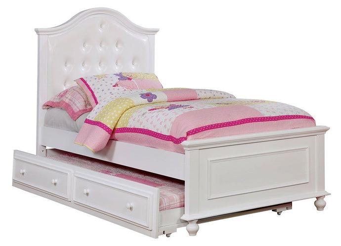 Olivia White Wood Twin Bed CM7155WH-T Furniture Of America