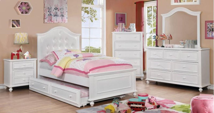 Olivia White Wood 4 Piece Full Bed Set CM7155WH-F Furniture Of America