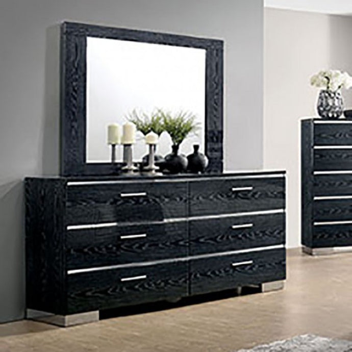 Furniture of America CM7049BK-D Malte Black Finish Dresser Mirror Set