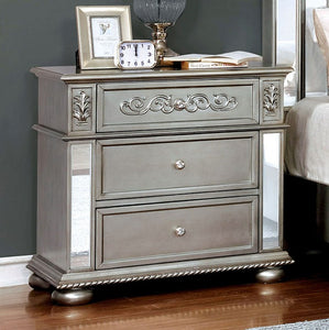 Furniture of America CM7194N Azha Traditional Silver Finish Nightstand