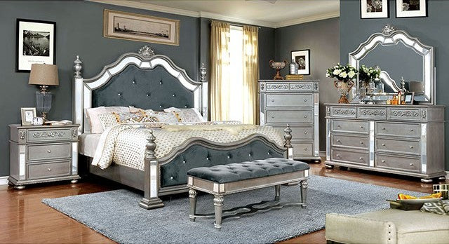Furniture of America CM7194CK 4 Piece Azha Silver Cal.King Bedroom Set