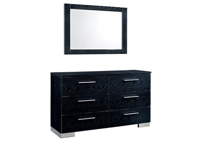 Furniture of America CM7550BK-D Christie Black Dresser Mirror Set