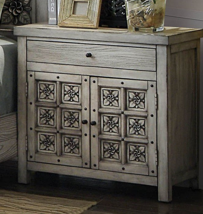 Furniture of America CM7392N Pantaleon Antique Light Gray Nightstand
