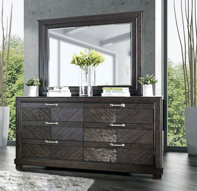 Furniture of America CM7315D Argyros Espresso Dresser Mirror Set