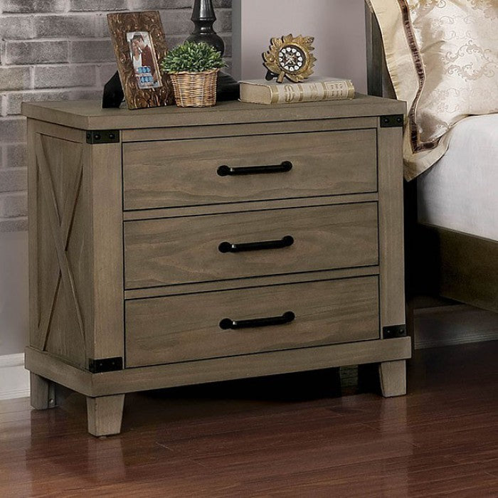 Furniture of America CM7734GY-N Bianca Transitional Gray Nightstand