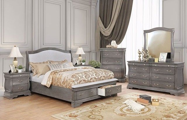Furniture of America CM7504GY-CK 4 Piece Merida Cal.King Bedroom Set