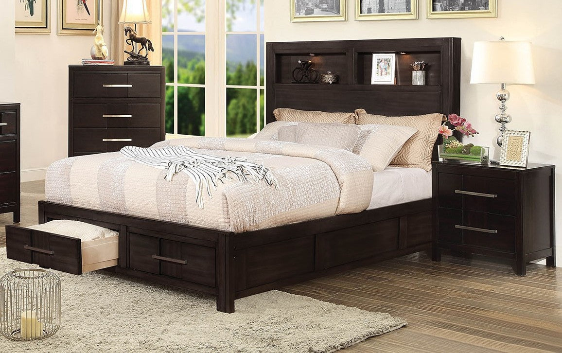 Furniture of America CM7500EX-Q Karla Transitional Espresso Queen Bed