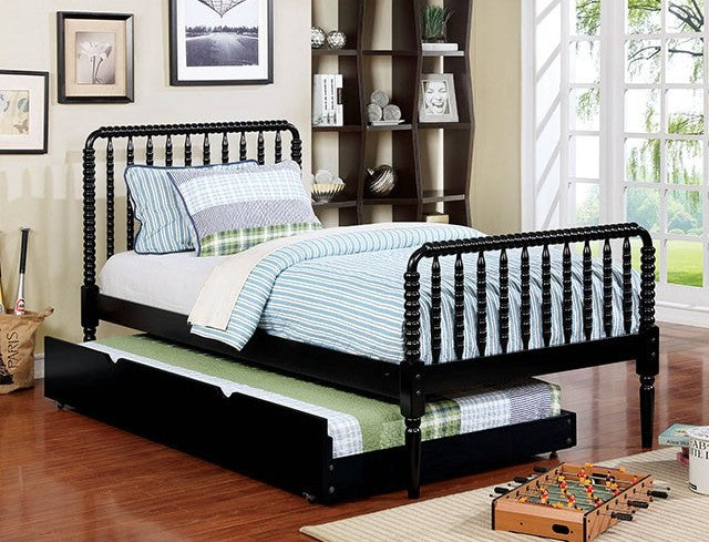 Furniture of America CM7741BK-T Jenny Black Twin Bed With Turndle