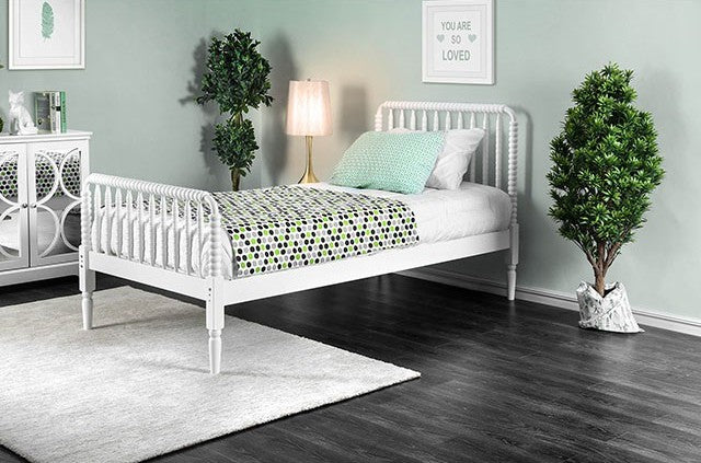 Furniture of America CM7741WH-T Jenny Traditional White Twin Bed