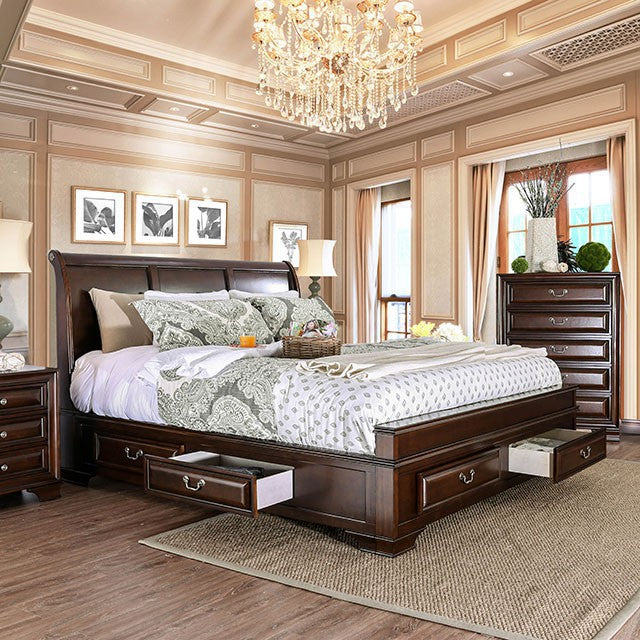 Furniture of America CM7302CH-CK Brandt Brown Cherry Cal.King Bed