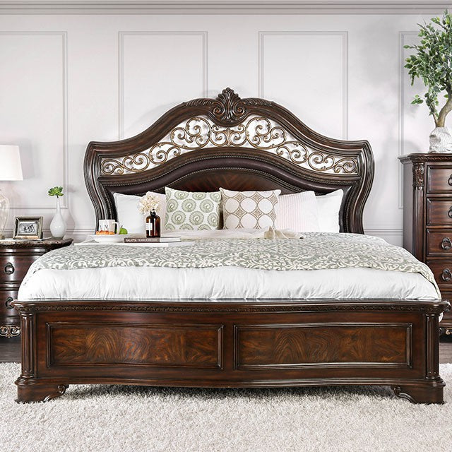 Furniture of America CM7311CK Menodora Brown Cherry Cal.King Bed
