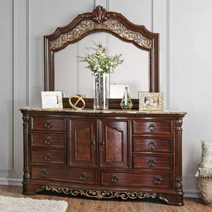 Furniture of America CM7311D Menodora Brown Cherry Dresser Mirror Set