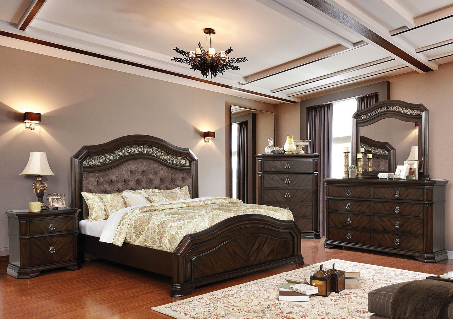 Furniture of America CM7752Q Calliope 4 Piece Queen Bedroom Set