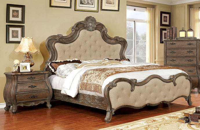 Furniture of America CM7664Q Cursa Traditional Beige Queen Bed