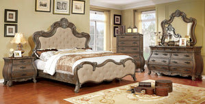 Furniture of America CM7664CK 4 Piece Cursa Beige Cal.King Bedroom Set