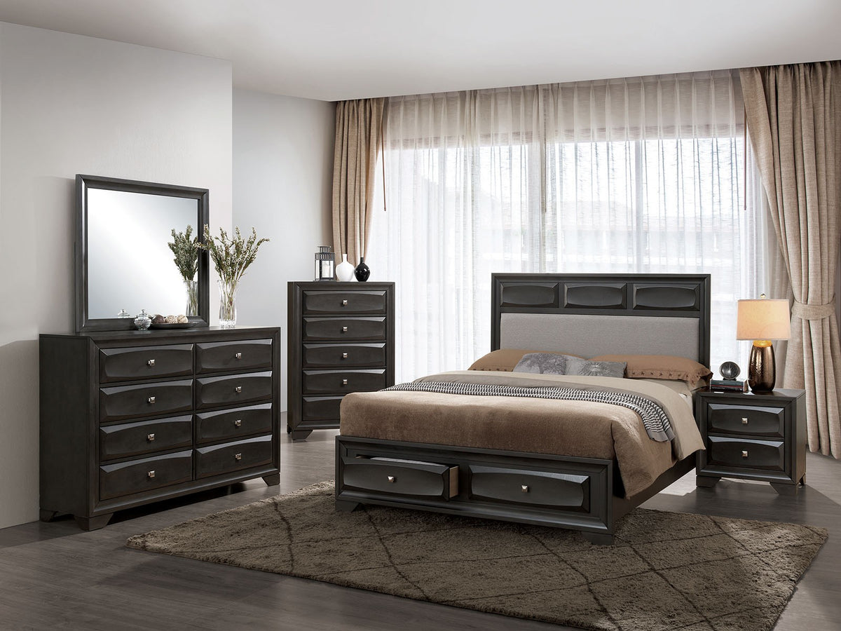Latitude Run Branson Black Metal Platform Bed Frame: Furniture Of America CM7553EK-DR 4 Piece Clotilde E.King