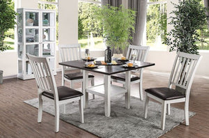 Furniture of America 5 Piece Rae Espresso & White Dining Table Set