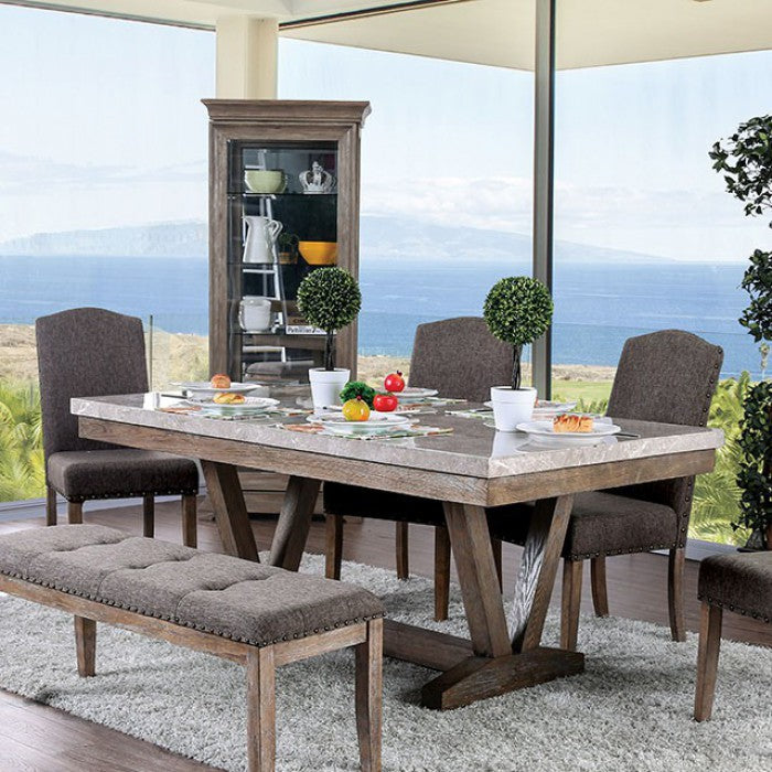 Furniture of America CM3429T Bridgen Transitional Natural Dining Table