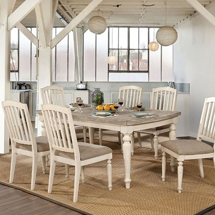 Furniture of America Summer Antique White & Gray Dining Table