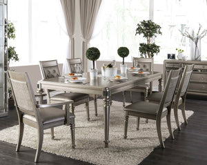 Furniture of America CM3239T 7 Piece Xandra Champagne Dining Table Set