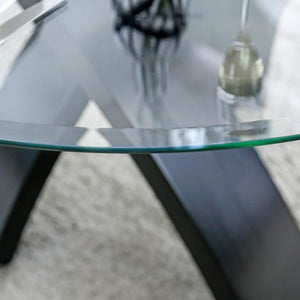 Furniture of America CM3393RT Jasmin Glass Top Round Dining Table
