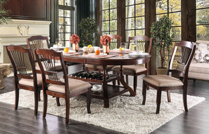 Jordyn Transitional 7 Piece CM3626T Brown Cherry Dining Table Set