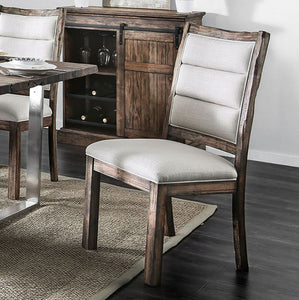 Furniture of America CM3451A-SC Mandy Oak/Ivory Dining Chair Set of 2