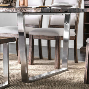 Furniture of America CM3451A-T Mandy Rustic Oak/Chrome Dining Table