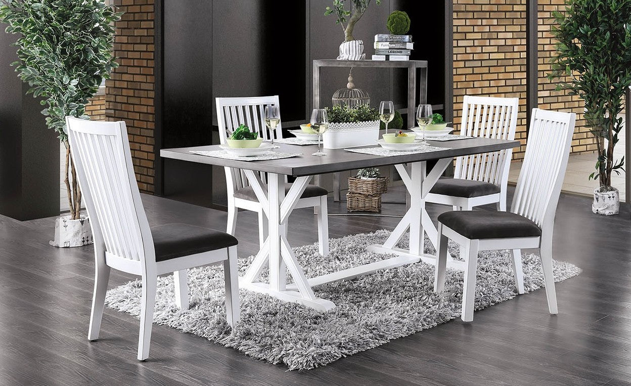 Furniture of America CM3761T 5 Piece Kathleen White/Gray Dining Set