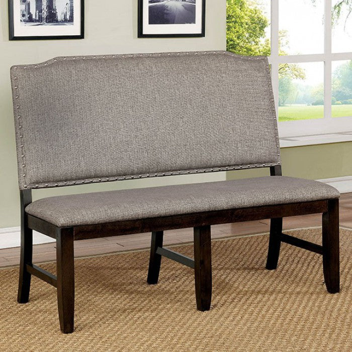 Furniture of America CM3911BN Teagan Dark Walnut Dining Bench