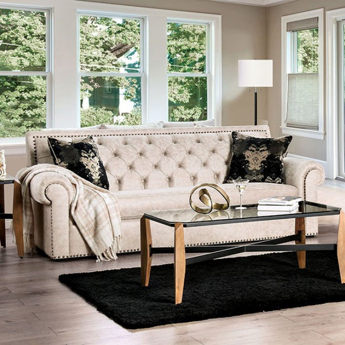 Furniture of America Parshall Beige Button Tufted Sofa